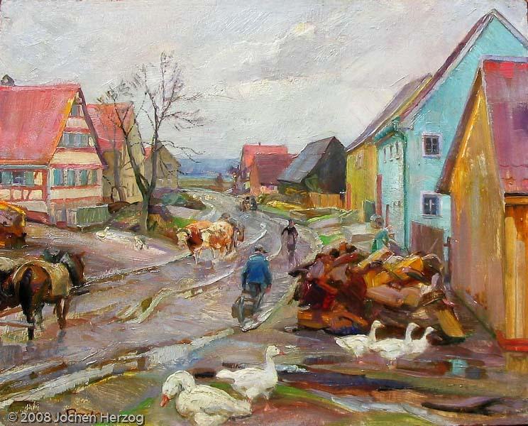 Andreas Bach - J669 - Larrieden - Dorfstrasse nach dem Regen