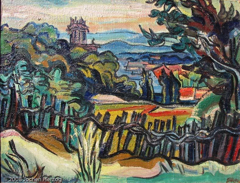 Gisela Habermalz - J586 - Moderne Landschaft mit Zaun