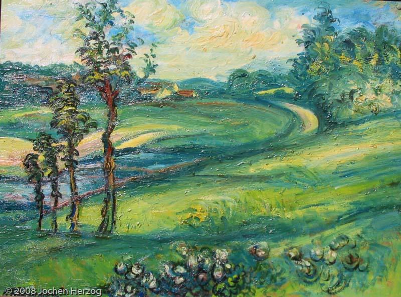 Gisela Habermalz - J587 - Moderne Landschaft mit vier Bäumen