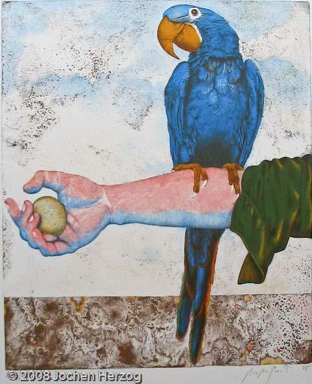 Michael Mathias Prechtl  - Papagei auf Arm mit Ei