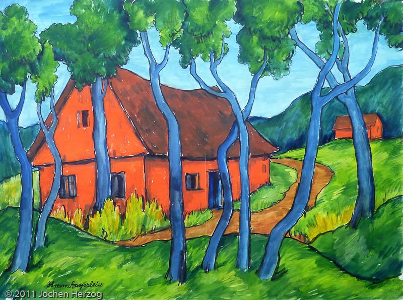 Hans Bayerlein - J859 - Orangenes Haus hinter Bäume